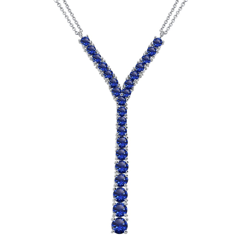 Sterling Silver Created Blue Sapphire Round Graduated Statement Lariat Y-Necklace for Women