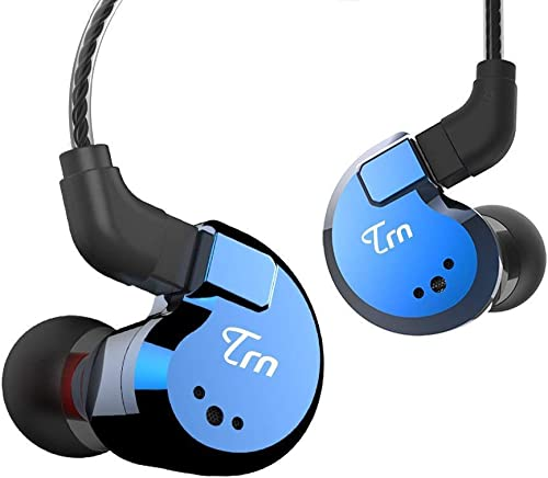 OKCSC TRN V80 in Ear Monitor,2BA 2DD Quad Driver Hybrid 2 Pin Removable HiFi Earphone,Stereo Deep Bass Earbuds,Metal Noise Canceling Headset Blue,No mic