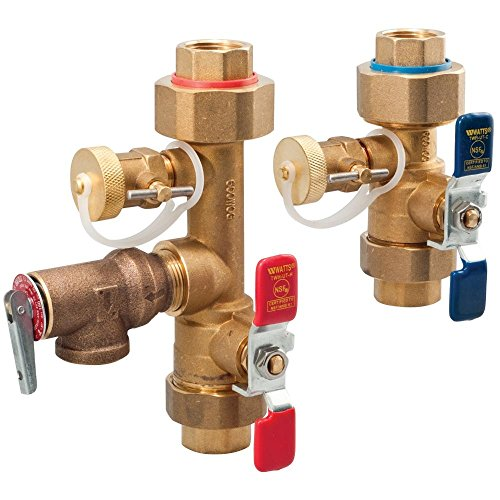 (Watts 3/4 LFTWH-UT-HC-RV Tankless Water Heater Valve Set with Relief Valve, 3/4