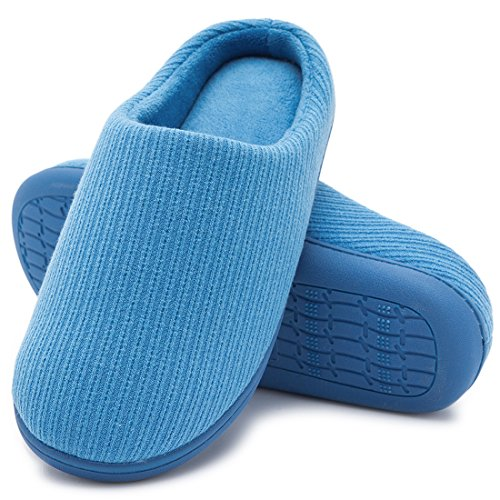 HomeTop Womens Comfort Slip On Memory Foam French Terry Lining Indoor Clog House Slippers 2018 New Style - Blue t6LqFjXb