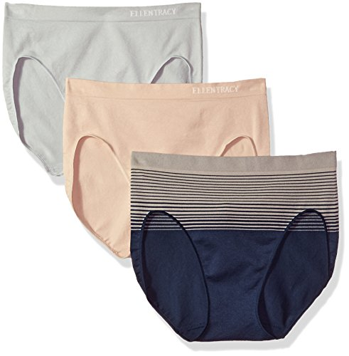 Ellen Tracy Women's 3 Pack Seamless Gradient Hi Cut Panty, Dark Navy/Natural, Sun Beige, Sterling, Small