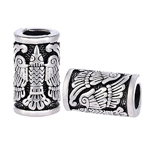 MYAROMA FINDINGS Vikings Eagle Bird Charm Beads for Bracelets for Pendant Necklace DIY Beard Hair Beads Charm � (C83-5pcs)