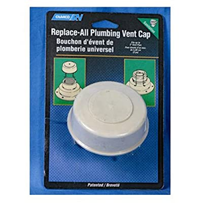"Camco Replace-All Plumbing Vent Cap with Spring Attachment - Replaces Lost or Damaged RV Plumbing Vent Caps | Fits Up to 2"" Plumbing Vent Pipe - White (40034): Automotive"