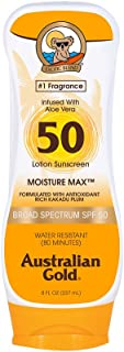 product image for Australian Gold Sunscreen Lotion SPF 50, 8 Ounce | Moisture Max | Infused with Aloe Vera | Broad Spectrum | Water Resistant