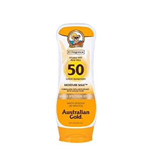 Australian Gold Sunscreen Lotion, Moisture Max, Infused with Aloe Vera, Broad Spectrum, Water Resistant, SPF 50, 8 Ounce