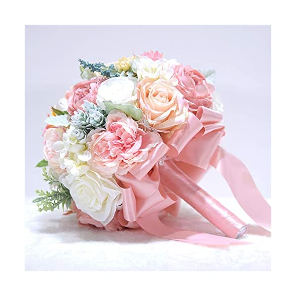 Abbie Home 10 inches Bride Bouquets – Artificial Wedding Flower Real Touch Blooming Rose Peony Holding Bouquet with Satin Ribbon Décor (Blush Pink)