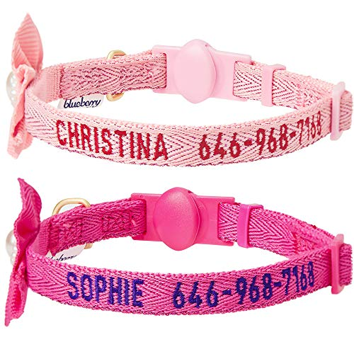 (Blueberry Pet Pack of 2 Personalized Fancy Metallic Thread Baby Pink & Shocking Pink Cat Collars with Bell and Flower, Adjustable Breakaway ID Collars Embroidered with Pet Name & Phone Number)