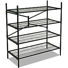 Cosco Products 66714BLK1E Folding 4-Wire Shelf Freestanding Storage Unit, Black