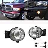 Ricoy for Dodge 2002-2008 Ram 1500 2500/2004-2006 Durango Pick Up Truck Bumper Fog Lights Clear Lens with 9006 HB4 Halogen Bulb