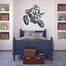 Dirt Bike Wall Stickers Motorbike Wall Decal Art available in 5 Sizes and 25 Colours Medium Ice Blue