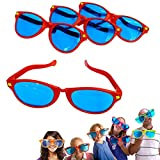 Dazzling Toys 6 Pack Plastic Jumbo Blue Lens Sunglasses for Costumes or Photo Booth Props