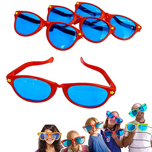 6 Pack Plastic Jumbo Blue Lens Sunglasses for Costumes or Photo Booth Props -