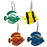 Tropical Fish Shower Curtain Hooks Sweet Home Collection Set of 12 Bathroom Hooks Premium Quality Classic Hand Crafted Resin Fits Most Shower Curtain Rods and Pockets, Sea Life Print