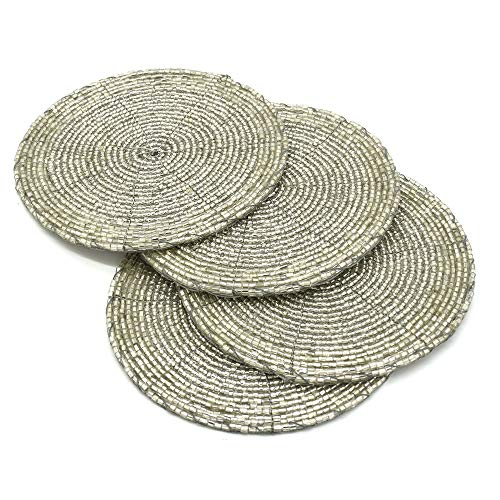 - Terraacraft Shimmering Indian Handmade Beaded Coasters -4