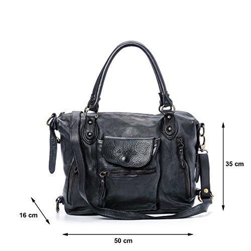 Ira del Valle, Borsa Donna, In Vera Pelle, Vintage, Modello Large Miami Streets Bag, Made In Italy Nero