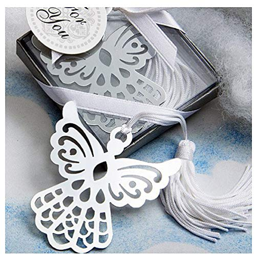 BERON Metal Angel Bookmark Favors with Elegant Silk Tassel Wedding Party Favors Gifts (Set of 24)