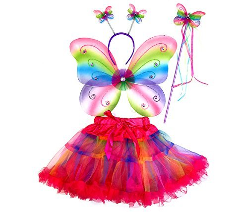 Mozlly Neon Rainbow Glittery Butterfly Fairy Tutu Costume - Includes Wings, Tutu, Wand and Headband - Pretend Play Dress Up For Girls Age 3+ Wing size: 17.7 x 12.5 x 1 inches (4pc Set) - Item #110092 -