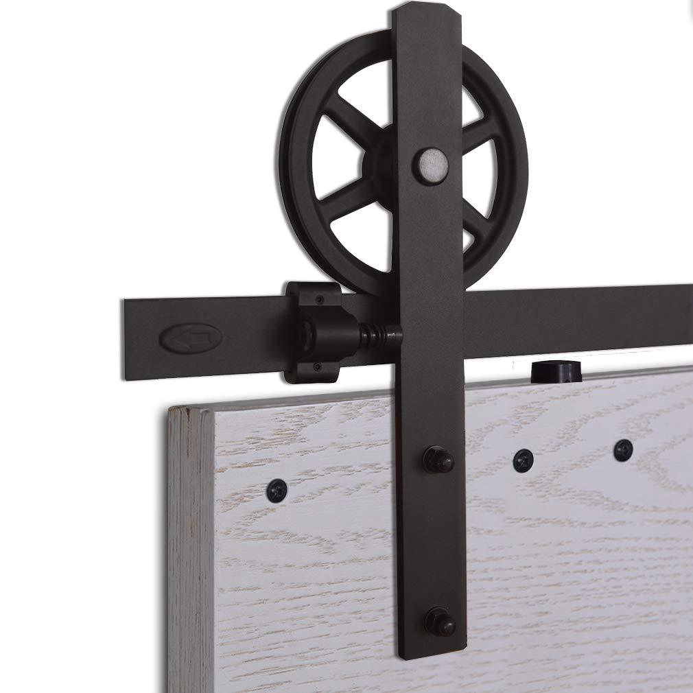 Adecuado para 1 Puerta de 77 cm de Ancho CCJH Riel Puerta Corredera Armario I Shape Big Wheel Hanger Herraje Puerta Corredera 153cm//5ft Negro