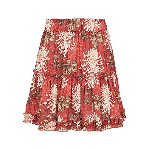 Lotus Taille Plage Floral Haute Jupe de Courte Ourlet Evas Eagerness Jupe Rouge Motif Coupe Femme pO0YZ0IUcf