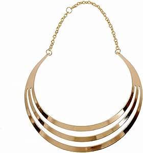 Maying Charm Metal Chunky Statement Bib Choker Necklace Jewelry