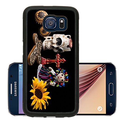 Luxlady Premium Samsung Galaxy S6 Aluminum Backplate Bumper Snap Case IMAGE ID: 21657739 Traditional Day of the Dead Dia de los muertos Mexican alter with skull candle cross maracas s