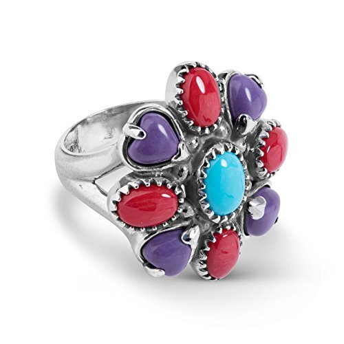 - American West Sterling Silver Turquoise Purple Magnesite Red Coral Cluster Ring