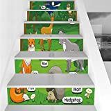Stair Stickers Wall Stickers,6 PCS Self-adhesive,Educational,Forest with Cartoon Animals with Names Educational Intellectual Fun Kids Game Decorative,Multicolor,Stair Riser Decal for Living Room, Hall