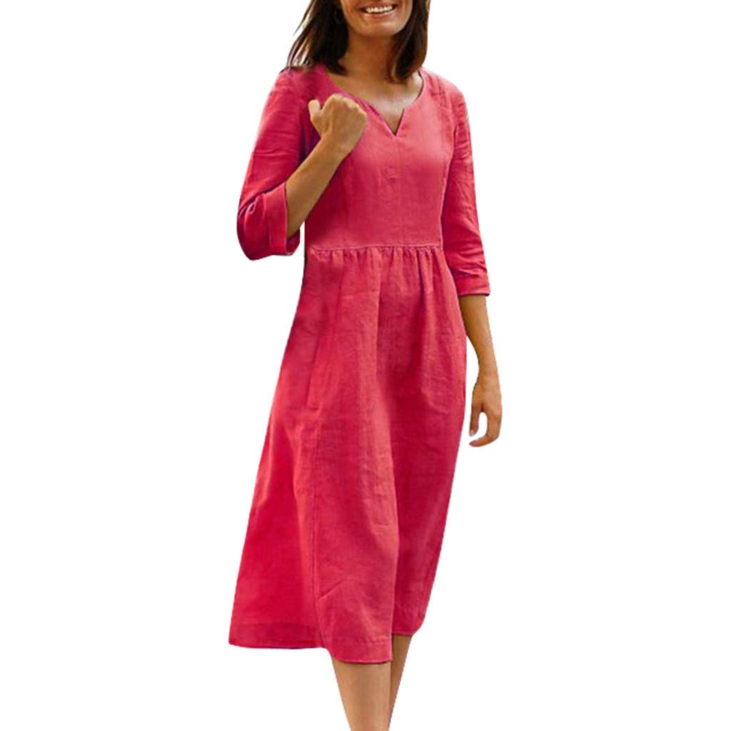 lenglangO 2019 Half Sleeves Solid Casual Dresses for Vacation V Neck Cotton Sundress for Work (Wine,XL) by lenglangO-dress