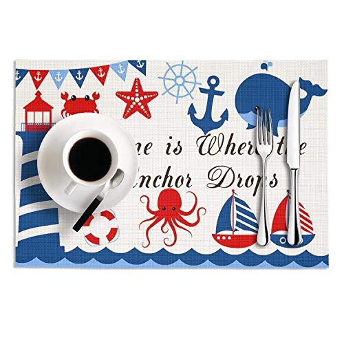 Home Is Where The Anchor Drops Table Mats Insulation Kitchen Placemats Non Slip Tablemats Wipe Clean PVC 2 Pieces Dining Mats 1812