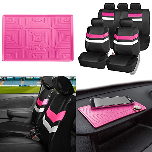 FH GROUP PU006115 Varsity Spirit PU Leather Seat Covers, Airbag & Split Ready w. FH3011 Silicone Anti-slip Dash Mat, Pink / Black Color ()