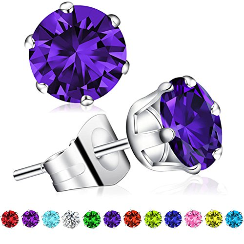 Birthstone Earrings Swarovski Zirconia Stainless