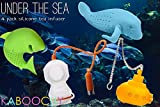 KABOOCHY Under the Sea 4 Pack Silicone Tea Infusers, includes Manatee, Shark, Deep Tea Diver and Submarine. Cute Loose Leaf Tea Diffuser Strainer Gift Pack