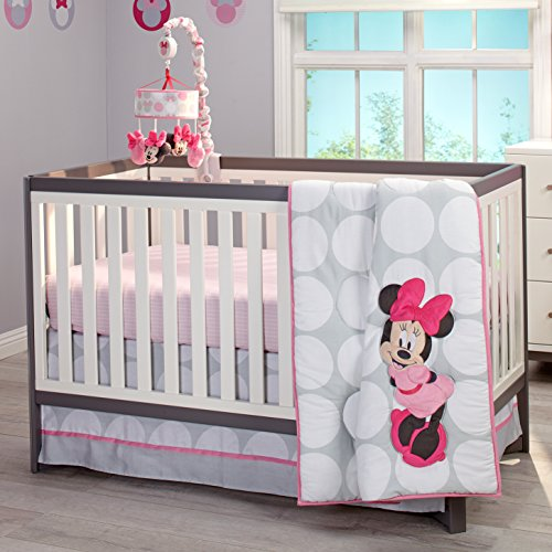 Disney Minnie Mouse Polka Dots 4 Piece Nursery Crib Bedding Set, Light Pink/White/Grey/Bright Raspberry