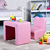Costzon Kids Sofa, 2-IN-1 Multi-Functional Kids Table & Chair Set, Sturdy Wood Construction, Armrest Chair for Boys & Girls (Pink)