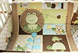 NAUGHTYBOSS Unisex Baby Bedding Set Cotton 3D Embroidery Frog Tortoise Owl Quilt Bumper Bedskirt Fitted Blankets Diaper Bag 9 Pieces Green