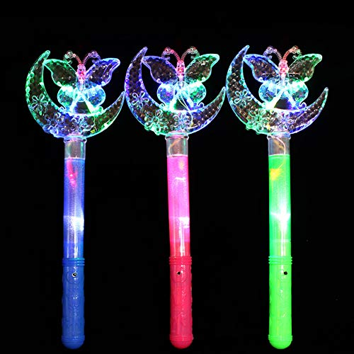 Bluelans Funny LED Star Moon Crown Butterfly Wand Toy Glow Light Up Stick Toy for Kids Boys Girls Xmas Gifts Xmas Stocking Fillers Party Bag Gifts]()