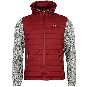 Lee Cooper acolchado de punto con capucha chaqueta para hombre Burgundy chaquetas abrigos Outerwear, granate, small: Amazon.es: Deportes y aire libre
