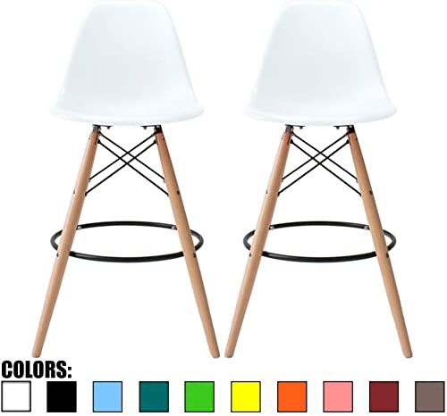 2xhome Set of 2 White 25 Seat Height DSW Molded Plastic Bar Stool Modern Barstool Counter Stools with Back Armless Side Natural Wood Eiffel Legs Dowel Kitchen Shell Mid Century Modern
