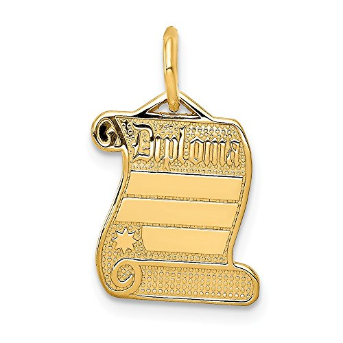 Jewel Tie 14K Yellow Gold Diploma Charm - (0.75 in x 0.47 in) ()