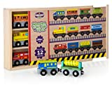 #3: kidzzy toys 12 Pcs wooden railway trains set works with all major brands of magnetic train cars