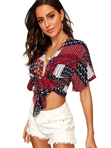 SweatyRocks Women's Boho Open Front Tie Knot Crop Top Casual Short Sleeve Tee Summer Short Blouse Shirt Multicolor - Sleeve Short Open Tie