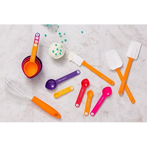 Baker's Secret 13-Piece Measuring Spoon, Cup, Spatula and Whisk, Sweet Baking Set, Multicolor