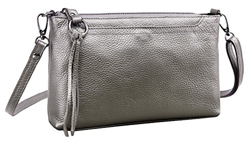 Silver Leather Genuine Diagonal Clutch Package Women's Bag Shoulder Small Retro SAIERLONG q16vBp