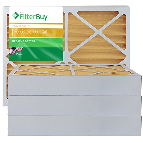 FilterBuy 20x25x4 MERV 11 Pleated AC Furnace Air Filter, (Pack of 4 Filters), 20x25x4 – Gold