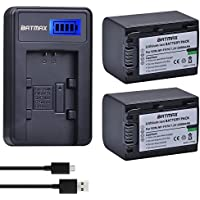 Batmax 2 Packs 2500mAh NP-FV70 NP FV70 NPFV70 Batteries&LCD USB Charger for Sony NP-FV50 FV30 HDR-CX230 HDR-CX150E HDR-CX170 CX300 Z1 and More