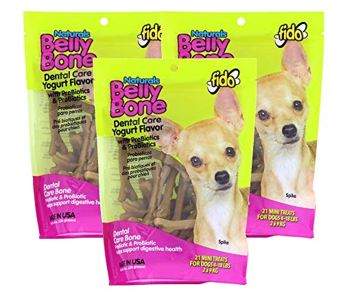 Fido Dental Care Belly Bones for Dogs, Yogurt Flavor - 21 Mini Treats Per Pack, Pack of 3 - Safely Digestible Chew That Promotes Plaque and Tartar Control-Helps to Support Your Dog's Digestive Health