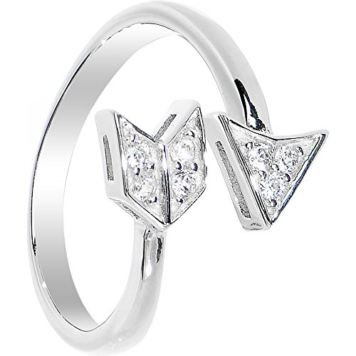 Au Toe Ring - Body Candy 925 Sterling Silver Cubic Zirconia Cupid's Arrow Toe Ring