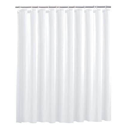 OTraki Fabric Shower Curtain Liner Extra Long 72 X 78 White Mildew Resistant Bathroom Curtains With