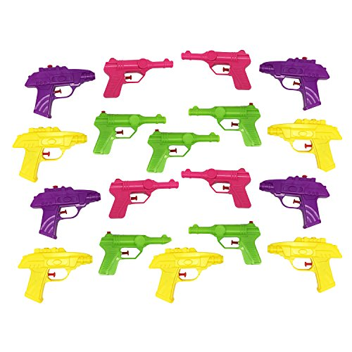 Boley Water Gun Party Pack - 18 toy water blasters for super sized squirt gun matches! Makes great stocking stuffers and party favors! (2 different shapes in 2 different colors each, as pictured)