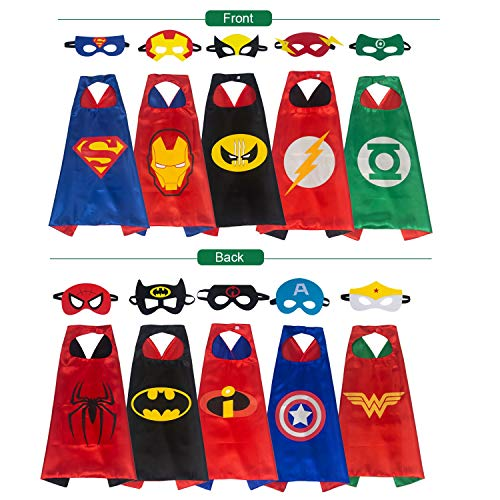 YOHEER Superhero Dress Up Costume Set, Double-Sided Satin Capes with Felt Masks for Kids, One Set Plays Double Roles(5 in Pack)